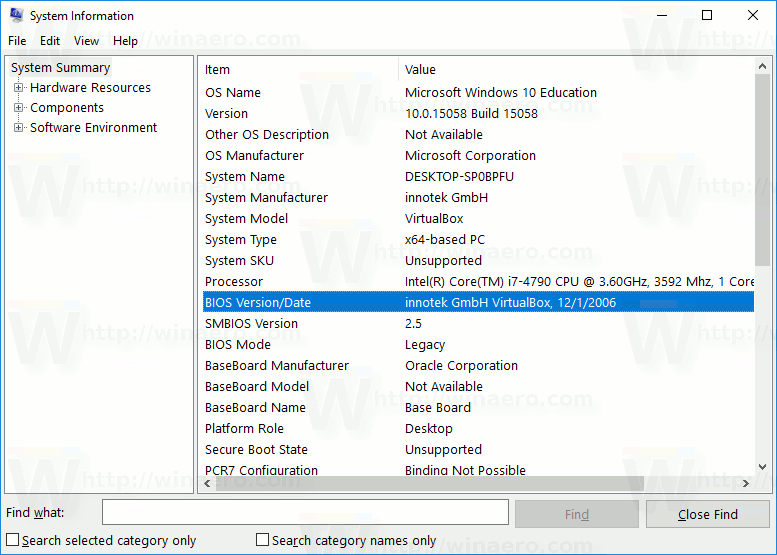 How to Find BIOS or UEFI version in Windows 10