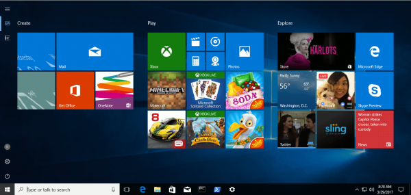 Windows 10 Fullscreen Start Menu