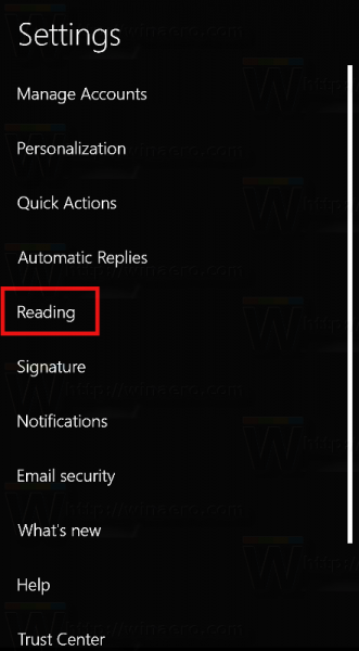 Windows 10 Mail Reading Pane