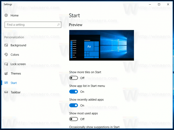 Windows 10 Settings Personalization Start