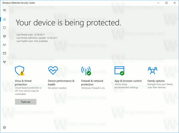 Windows Defender Sec Center Opened