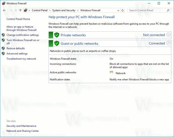 Windows Firewall In Control Panel