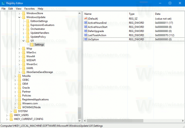 Windows Update Teaser Registry Key
