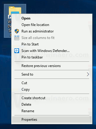 Windows Defender Security Center Shortcut Properties