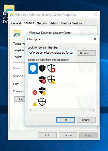 Windows Defender Security Center Shortcut Set Icon
