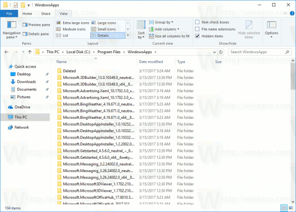 WindowsApps Folder Opened