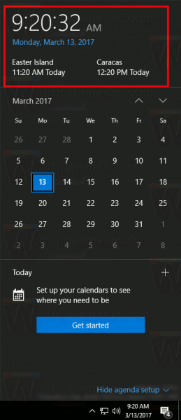 Calendar Agenda With Additional Clocks