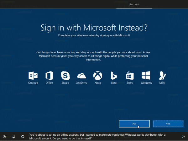 Install Windows Creators Update Out Microsoft Account