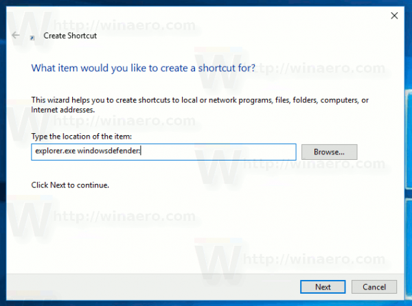 Create Defender Security Center Shortcut