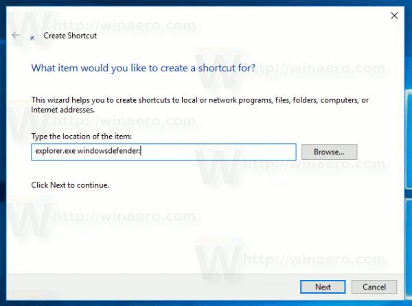 Create Defender Security Center Shortcut