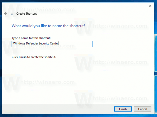 Create Defender Security Center Shortcut Name