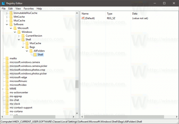 Create New Key AllFolders Shell