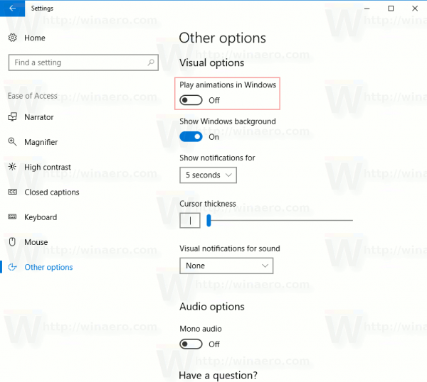 Disable Animations In Windows 10