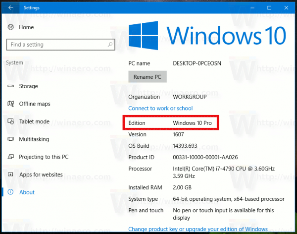 Find Windows 10 Edition In Settings