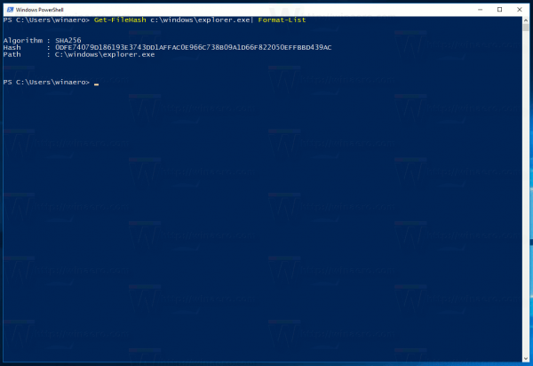 Get File Hash With PowerShell in Windows 10