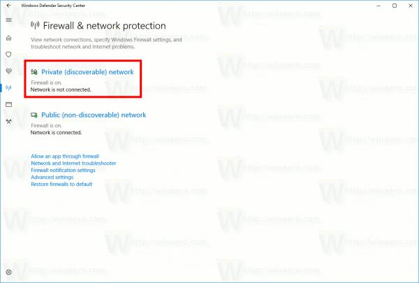 Network Profile Defender Security Center