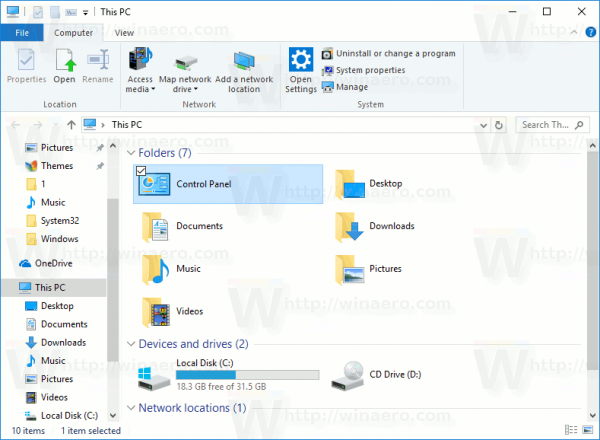 Add Control Panel To This PC In Windows 10