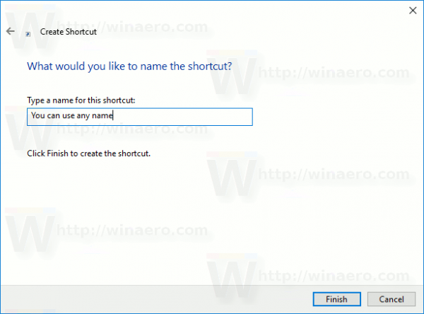 Any Name Shortcut Windows 10