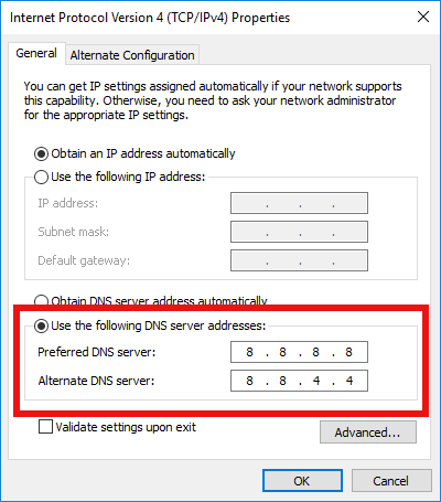 Change DNS Server In Windows 10