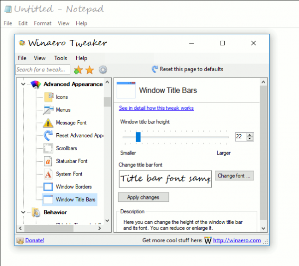 Change Title Bars Text Size In Windows 10 Creators Update