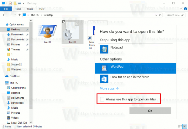 Choose Default Apps Dialog