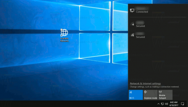 Create Show Available Networks Shortcut In Windows 10
