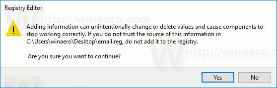 Email Context Menu Import Reg File