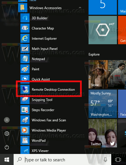 Enable RDP Start Menu Windows 10