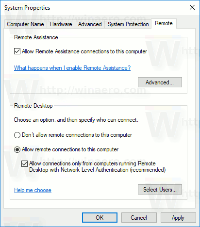 Enable RDP In Windows 10