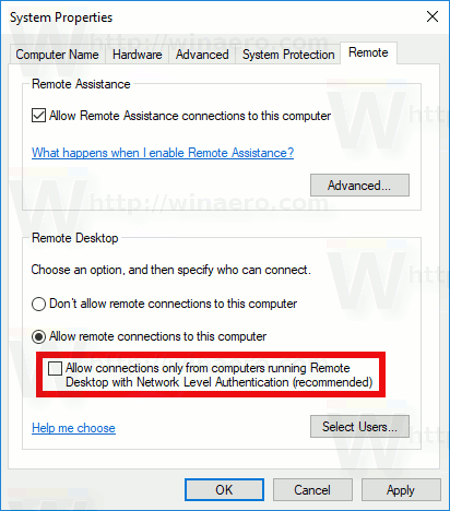 Enable RDP Legacy Connections In Windows 10