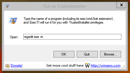ExecTI Run As TrustedInstaller