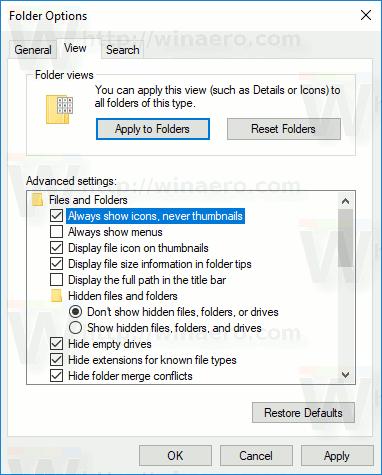 File Explorer Disable Thumbnails