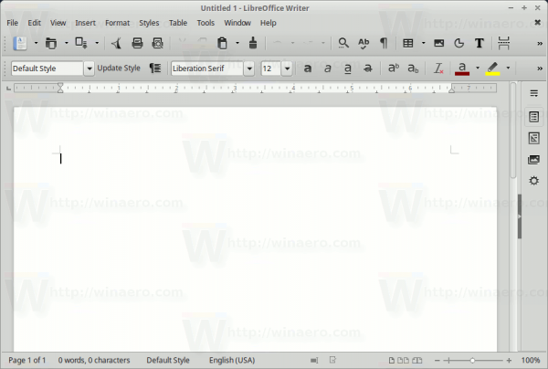 Libreoffice Default Toolbar