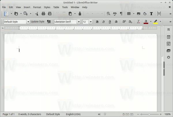 Libreoffice Default Toolbar