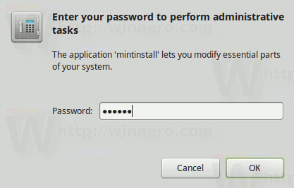 Mint Software Manager Enter Your Password