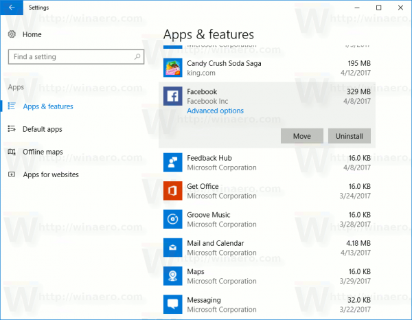 Move Installed Apps In Windows 10