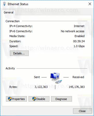 Network Connection Status Window