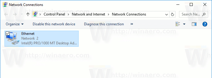 Network Connections Folder Windows 10
