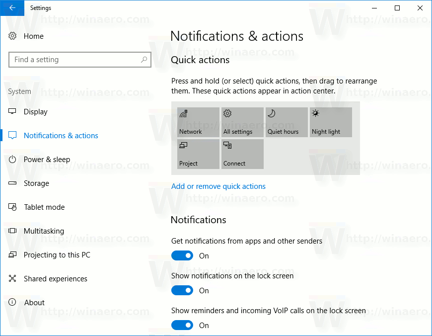 Notifications And Actions Windows 10