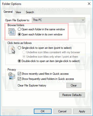 Open Each Folder In New Window In Windows 10