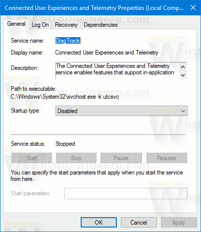 Service Properties Windows 10