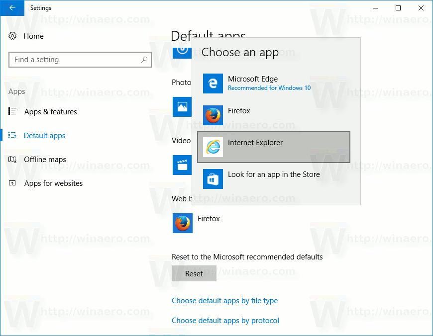 Settings Choose Default App