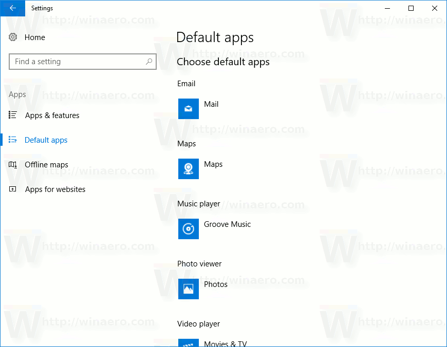 Settings Default Apps