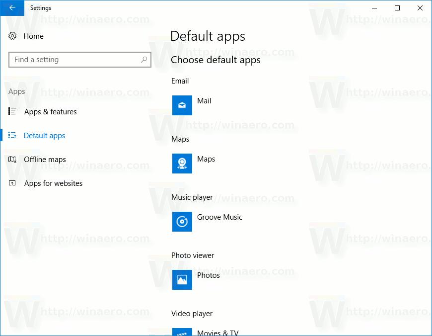 Settings Default Apps