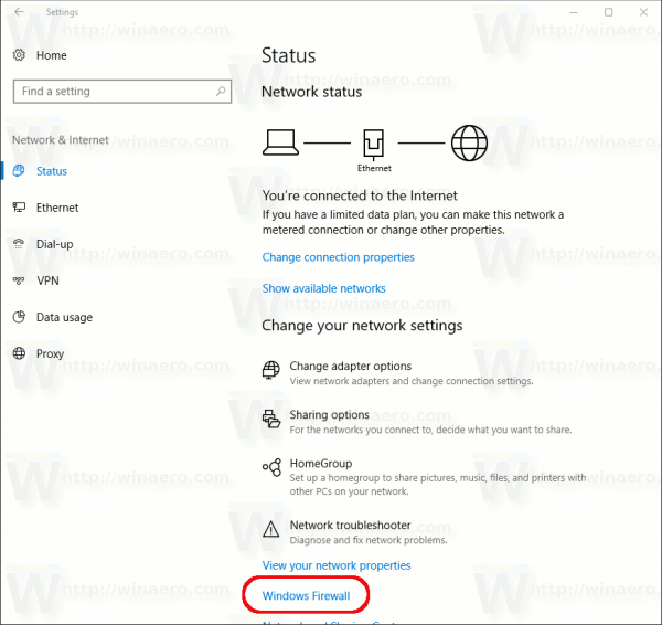 Settings Firewall Link
