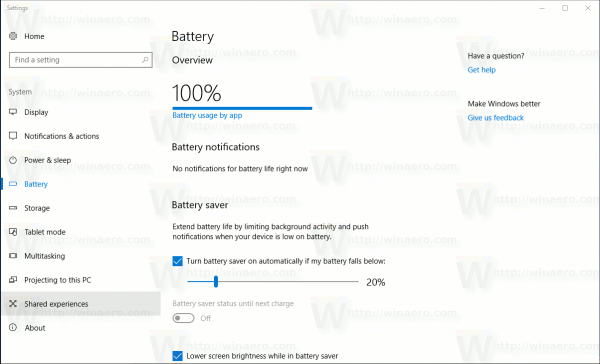 Settings System Battery