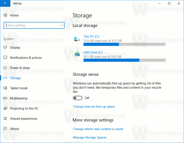 Settings System Storage