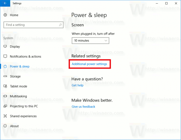 Settngs Additional Power Settings Link