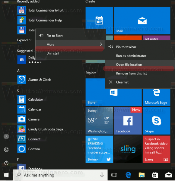 Start Menu Open Location