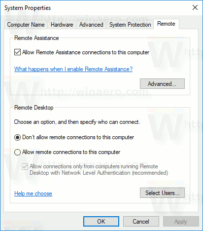 System Properties Remote Tab